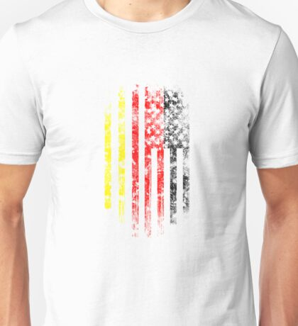 Germany and America Flag Combo Distressed Design Unisex T-Shirt