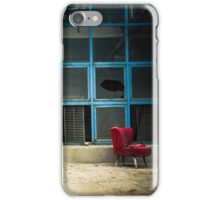 Industrial exterior with red chair and window iPhone Case/Skin
