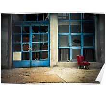 Industrial exterior with red chair and window Poster