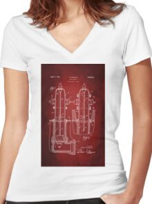 Fire Hydrant Patent 1931 Women's Fitted V-Neck T-Shirt