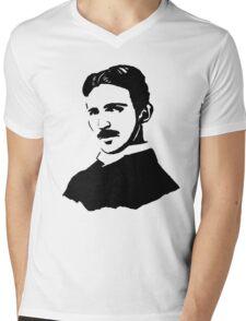 Nikola Tesla Stencil Mens V-Neck T-Shirt
