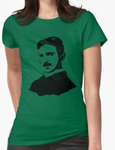 Nikola Tesla Stencil Womens Fitted T-Shirt