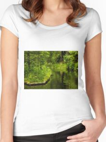 Green Peaceful Land - Nature Photography Women's Fitted Scoop T-Shirt