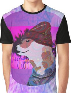 Vaporwave Dog In Sweater Aesthetic Graphic T-Shirt
