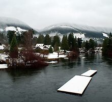 Cowichan River from the Duck Pond Bridge (Lake Cowichan, Vancouver Island, British Columbia, Canada) by Edward A. Lentz