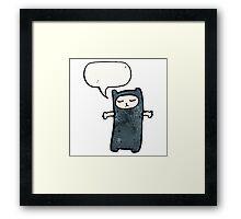 black cat costume cartoon Framed Print
