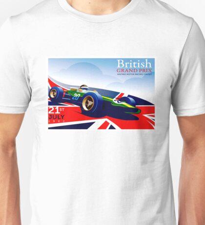 BRITISH GRAND PRIX; Vintage Auto Advertising Print Unisex T-Shirt