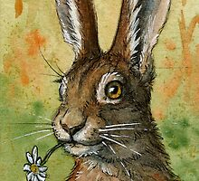 Funny Rabbits - One Daisy For You 488 by schukinart