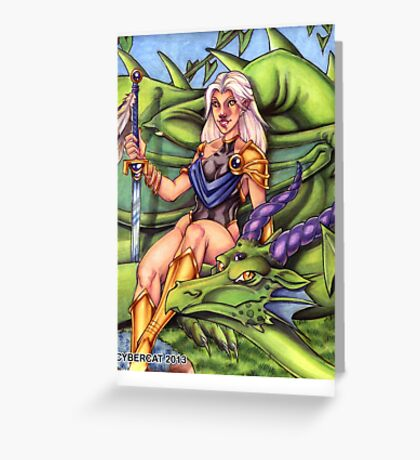 Fantasy Art Dragon and Amazon Warrior   Greeting Card