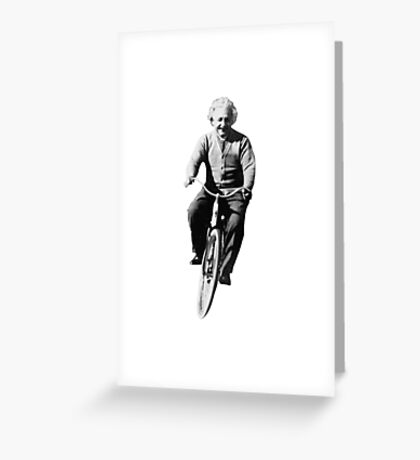 Albert Einstein on a Bike Greeting Card