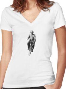 Albert Einstein on a Bike Women's Fitted V-Neck T-Shirt
