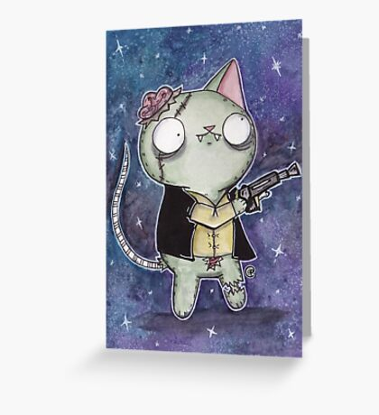 Zombie Han Solo Cat Greeting Card