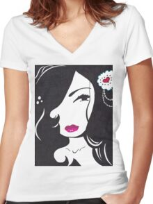 Lydia Women's Fitted V-Neck T-Shirt