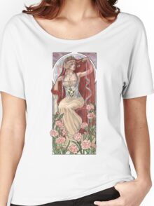 Veiled Lady of January with Pink Carnations and Snowdrop Birth Flower Corset Mucha Inspired Birthstone Series Women's Relaxed Fit T-Shirt