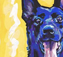 Black German Shepherd Bright colorful pop dog art by bentnotbroken11