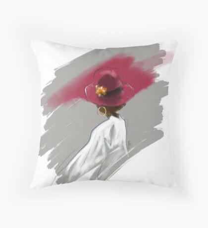The Women in the Red Hat Throw Pillow