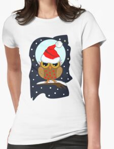 Cute Owl with Santa hat in a snowy world Womens Fitted T-Shirt