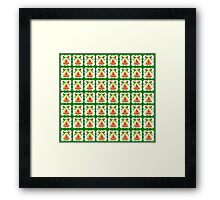 Christmas wallpaper golden bell  green background  Framed Print