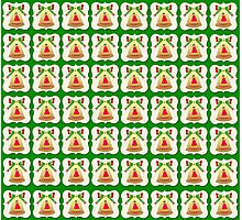 Christmas wallpaper golden bell  green background  Photographic Print