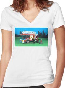 FIRE TRUCK, FIRE TRUCK, FIRE TRUCK Women's Fitted V-Neck T-Shirt
