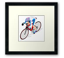 Cycling Track Sports 3D Isometric Framed Print