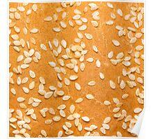 Hamburger Bun with Sesame Seeds Poster