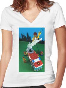 Fireman Women's Fitted V-Neck T-Shirt