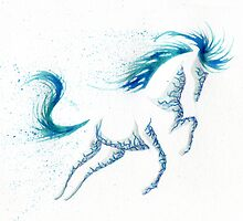 Minimal Abstract Blue Ocean Breeze Horse by Anila Tac