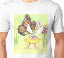 """""""Butterfly & Fairy"""" coloured pencil drawing Unisex T-Shirt"""