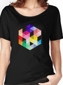 Geometric Color Cube Women's Relaxed Fit T-Shirt