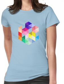 Geometric Color Cube Womens Fitted T-Shirt