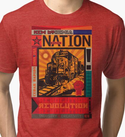 New Bohemia Soviet Style Train  Tri-blend T-Shirt