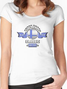 Super Smash Classic Blue Team Women's Fitted Scoop T-Shirt