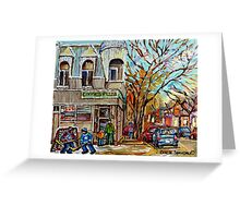 POINTE ST.CHARLES RESTAURANT CONNIE'S PIZZA MONTREAL WINTER STREET SCENE Greeting Card