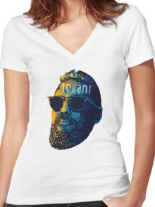 Tchami face art Women's Fitted V-Neck T-Shirt