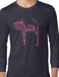 Pussy Grabs Back Pink Cat Word Mosaic Long Sleeve T-Shirt