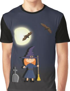 Witch in a graveyard night Graphic T-Shirt
