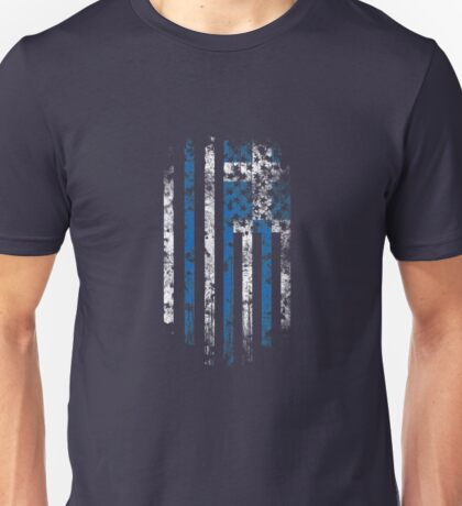 Greece and America Flag Combo Distressed Design Unisex T-Shirt