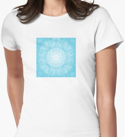Blue ornamental background Womens Fitted T-Shirt