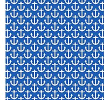 Blue with White Anchors Pattern Photographic Print