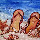 Flip Flops on the Beach by Robin Monroe