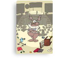 Santa's Reindeer Card - Comet - Christmas Card Canvas Print