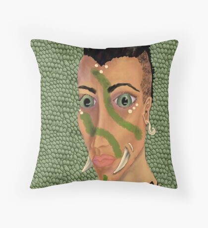 Young Orcish Woman Throw Pillow