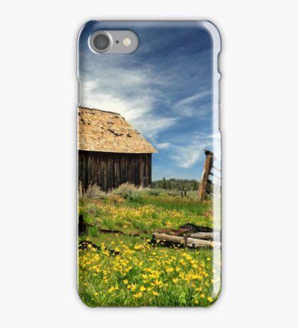 Cabin In A Field Of Flowers iPhone Case/Skin