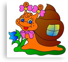 the cheerful snail creeps on a grass Canvas Print