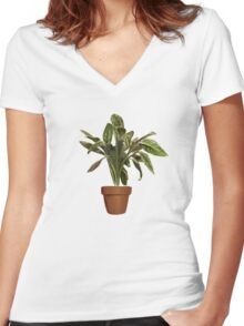 Ficus Women's Fitted V-Neck T-Shirt