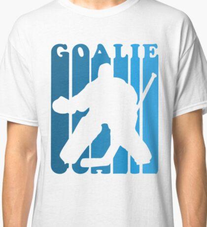 Retro 1980's Style Hockey Goalie Silhouette T-Shirt Goalie Hockey Sport  Classic T-Shirt