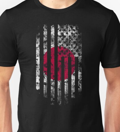 Japan and America Flag Combo Distressed Design Unisex T-Shirt
