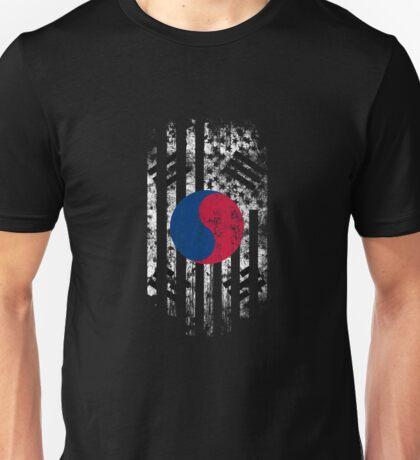 Korea and America Flag Combo Distressed Design Unisex T-Shirt