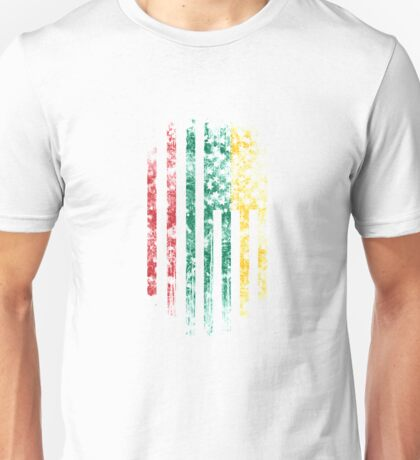 Lithuania and America Flag Combo Distressed Design Unisex T-Shirt